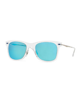 Ray-Ban Wayfarer Mirror Matte Clear Sunglasses, Turquoise