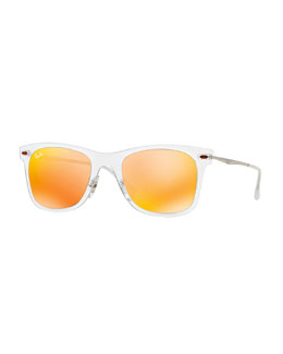 Ray-Ban Wayfarer Mirror Matte Clear Sunglasses, Brown/Orange