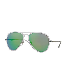 Ray-Ban Mirror Matte Clear Aviator Sunglasses, Green