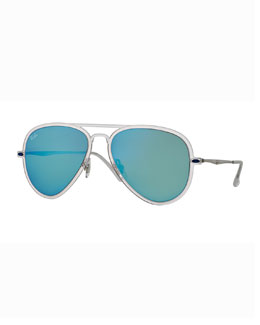 Ray-Ban Mirror Matte Clear Aviator Sunglasses, Turquoise