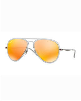 Ray-Ban Mirror Matte Clear Aviator Sunglasses, Brown/Orange