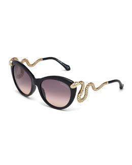 Roberto Cavalli Snake-Temple Butterfly Sunglasses, Black