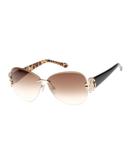 Roberto Cavalli Butterfly Sunglasses with Animal-Print Detail