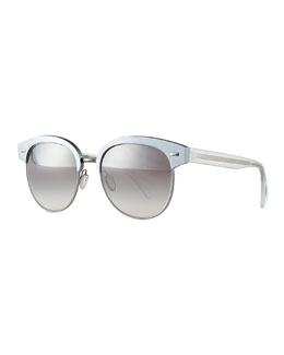 Oliver Peoples Shaelie Mirrored Semi-Rimless Sunglasses, Frost