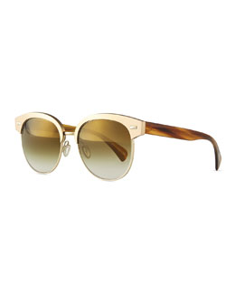 Oliver Peoples Shaelie Mirrored Semi-Rimless Sunglasses, Bronze