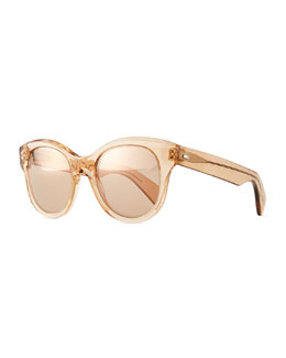 Oliver Peoples Jacey Mirror Oval Sunglasses, Blush