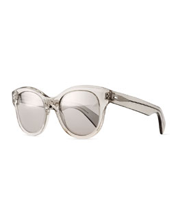 Oliver Peoples Jacey Mirror Oval Sunglasses, Gray