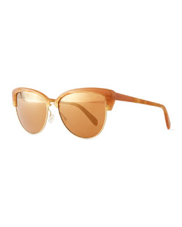 Oliver Peoples Alisha Mirror Butterfly Sunglasses, Terra-Cotta/Peach