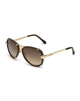 Roberto Cavalli Leather-Wrapped Aviator Sunglasses, Brown