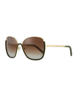 Chloe Universal Fit Danae Butterfly Sunglasses, Gold/Green