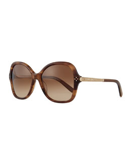 Chloe Boxwood Crystal-Arm Butterfly Sunglasses, Brown Stripes