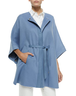 Loro Piana Margot Cashmere Belted Cape, Blue