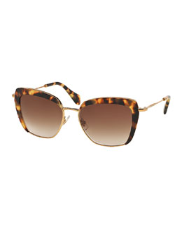 Miu Miu Cat-Eye Acetate Sunglasses, Havana