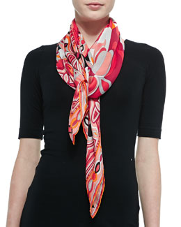 Emilio Pucci Tapestry-Pattern Scialle Scarf, Coral