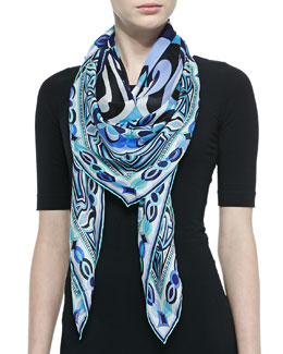 Emilio Pucci Tapestry-Pattern Scialle Scarf, Blue