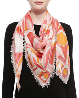 Emilio Pucci Kaleidoscope Printed Scarf, Coral
