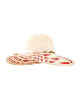 Honey Hemp Sunhat, Ivory/Red