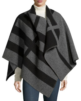 Burberry Prorsum Mega Check Cape, House Check/Gray