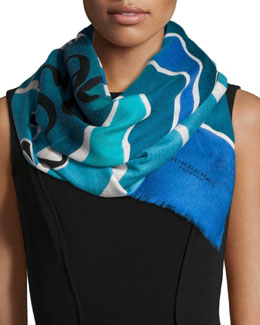 Burberry Prorsum Landscapes and Seascapes Scarf, Sky Blue