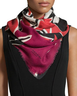 Burberry Prorsum Insects of Britain Scarf, Rose