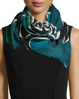 Burberry Prorsum Insects of Britain Scarf, Blue