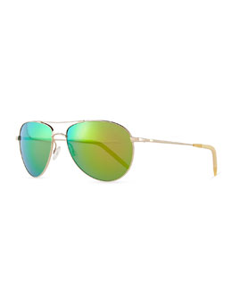 Oliver Peoples Colored Lens Aviator Sunglasses, Gold/Green