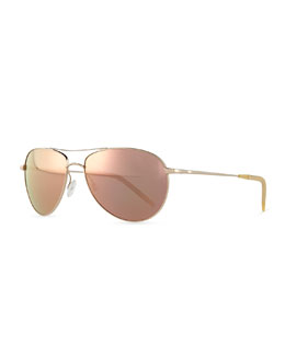 Oliver Peoples Colored Lens Aviators, Gold/Lilac