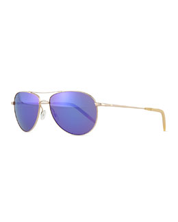 Oliver Peoples Colored-Lens Aviator Sunglasses, Gold/Purple
