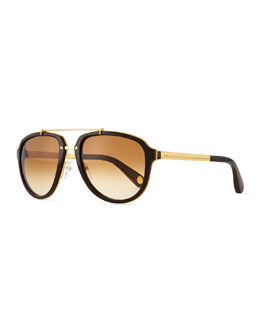 Marc Jacobs Plastic & Metal Aviator Sunglasses, Gold/Brown