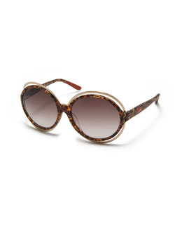 Missoni Round Acetate Sunglasses, Havana