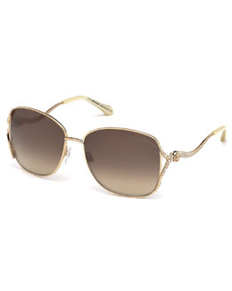 Roberto Cavalli Meissa Snake-Arm Sunglasses, Golden