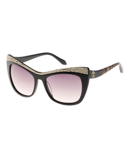 Roberto Cavalli Muscida Snake-Brow Cat-Eye Sunglasses, Black/Leopard