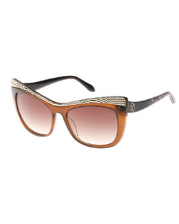 Roberto Cavalli Muscida Snake-Brow Cat-Eye Sunglasses, Brown/Leopard