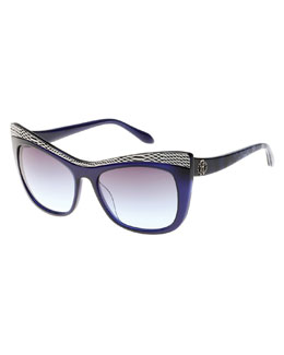 Roberto Cavalli Muscida Snake-Brow Cat-Eye Sunglasses, Blue