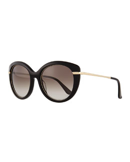 Salvatore Ferragamo Butterfly Sunglasses with Golden Detail, Black
