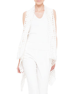 Open Hand Crochet Asymmetric Cape, Calcite