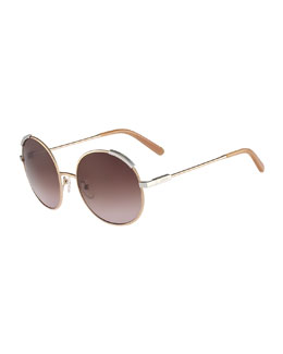 Chloe Eria Round Mixed-Metal Sunglasses, Dark Brown