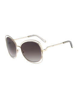 Chloe Carlina Butterfly-Frame Sunglasses, Gold/Gray