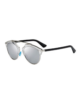 Dior So Real Brow Bar Sunglasses, Silver