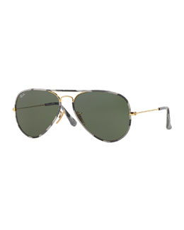 Ray-Ban Printed-Rim Aviator Sunglasses
