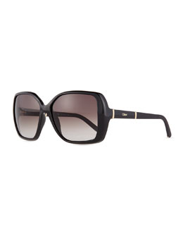 Chloe Daisy Square Sunglasses, Black