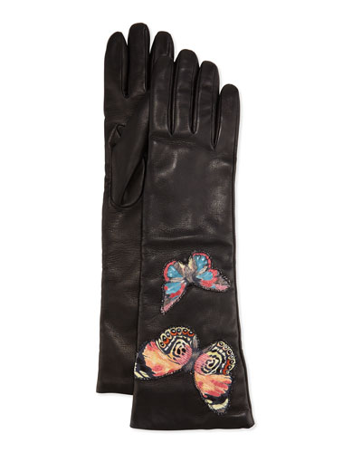Napa Leather Butterfly Embroidered Gloves, Black