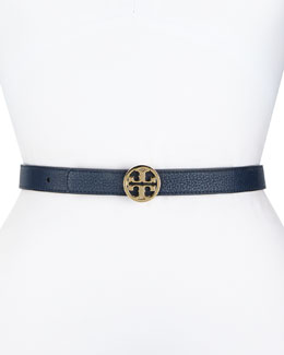 Tory Burch Robinson Reversible Logo Leather Belt, Blue/Red