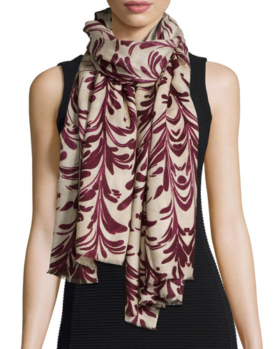 Symphony-Print Woven Scarf, Red Agate