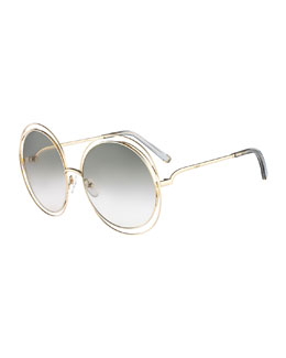 Chloe Carlina Round Wire-Frame Sunglasses, Gold/Gray