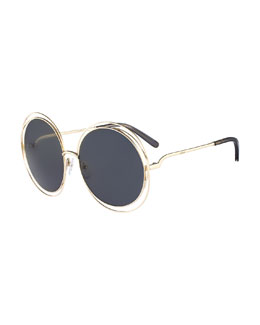 Chloe Carlina Round Sunglasses, Gold/Dark Gray
