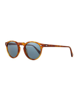 Oliver Peoples Gregory Peck Round Plastic Sunglasses, Blonde Tortoise