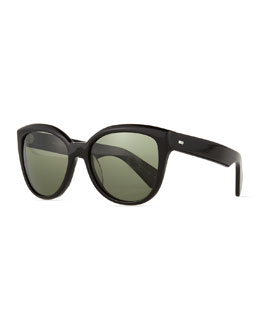 Oliver Peoples Abrie Plastic Polarized Cat-Eye Sunglasses, Black