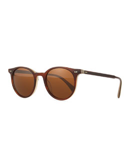 Oliver Peoples Delray Round Polarized Sunglasses w/Contrast Edging