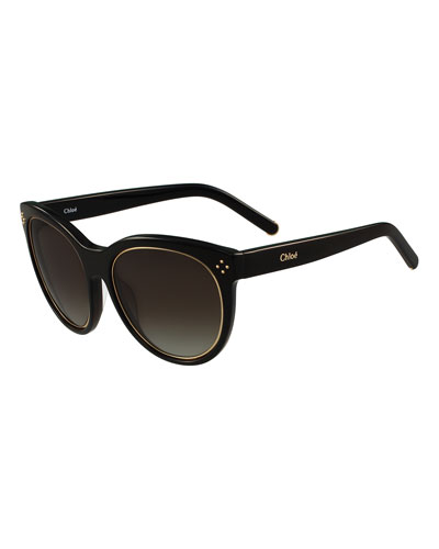 Metal-Rim Cat-Eye Sunglasses